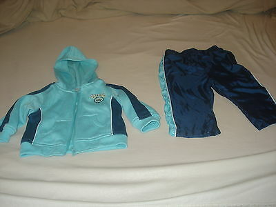 2Pc Light Blue & Navy Blue Combination Hoody Set For Infants (12 Months Babies)