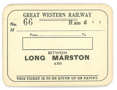 Great Western Railway GWR First Class Season Ticket LONG MARSTON thick card