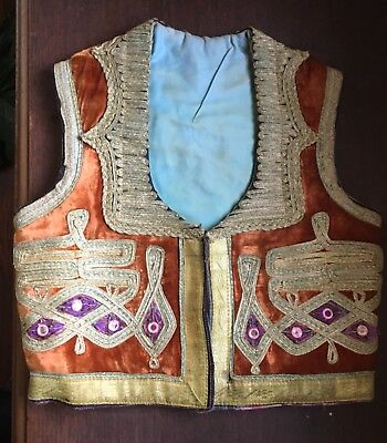 Antique Ottoman Turkish Metallic Thread Embroidered Yelek Vest