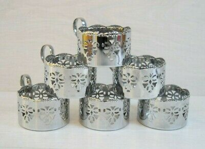 Vintage Collectible USSR PODSTAKANNIK 6 Glass Cup Holder Holders Cups Russian