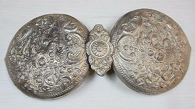 Antique Silver Plated European Folklore Dancing Belt Buckle Pafti 18 Century