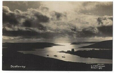 SCALLOWAY Atmospheric View, Shetland RP Postcard by CJ Williamson, Unused