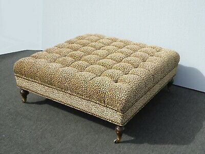 Vintage French Country Tufted Gold Leopard Print Ottoman on Castors Coffee Table