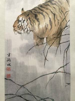 CHINESE PAINTING PAPER MAKURI CHINA TIGER ASIAN ART PICTURE ANTIQUE d115