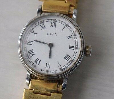 Vintage Collectible Gold Plated Women's Mechanical Wrist Watch Luch Russian USSR