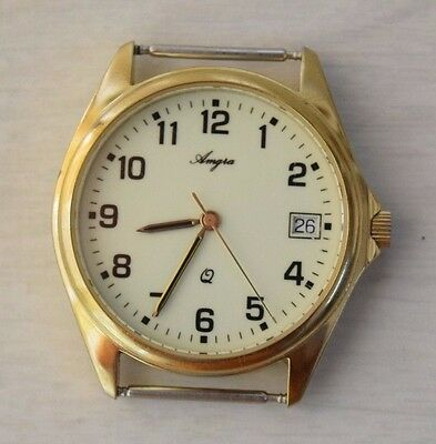 Vintage Collectible Gold Plated Battery Quartz Wristwatch AMGIA Stylish Watch