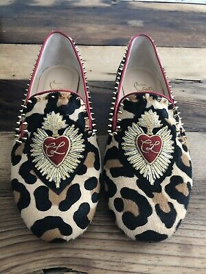 5f057b9bdd7 CHRISTIAN LOUBOUTIN Mi Corazon Leopard Pony Hair Smoking Slipper - eu40 Us10