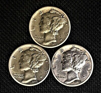 1943 P-D-S  10C SILVER Mercury 3-Mint Dime Set - Nice VF  (Only $1 Shipping)