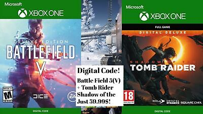 ⭐️ 100% BATTLEFIELD V + Tomb Rider Shadow Of The DELUXE EDITION XBOX ONE GAME⭐️