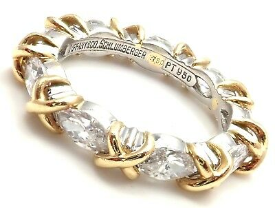 Authentic! Tiffany & Co Schlumberger 18k Yellow Gold Platinum Diamond Band Ring
