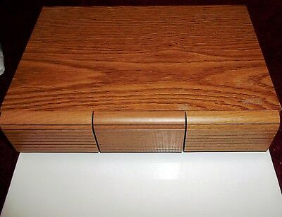 Blond Wood Storage Box for Audio Cassette Tapes  3 Drawers