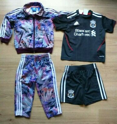 GIRLS BUNDLE ADIDAS TRACKSUIT/LFC FOOTBALL KIT AGE 12-18mths IMMACULATE FREE P&P