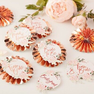 6pc Rose Gold Team Bride Badges Rosettes Floral Hen Party Accessories Favours