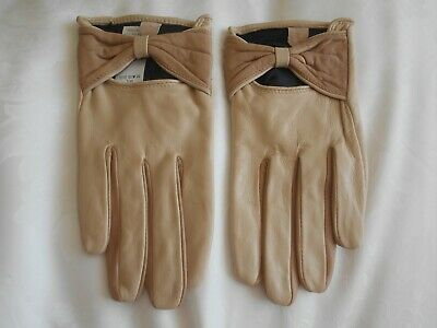 """""""New Look"""" Stunning Cream & Taupe Soft Leather Gloves Size Small!!!"""