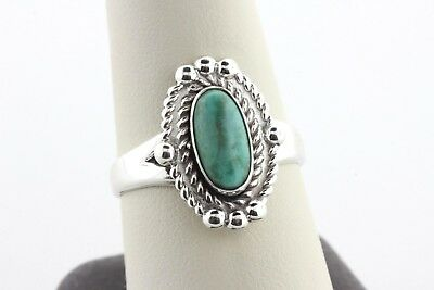 Bell Trading Post Sterling Silver Double Rope Border Oval Turquoise Ring Size 10