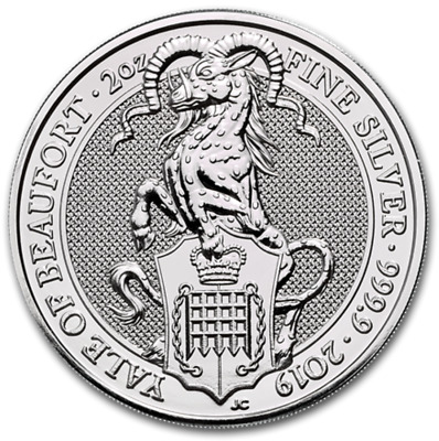 Yale Of Beaufort 2019 Queens Beasts 2 Oz Argent Uk £5 Silver Great Britain Eale