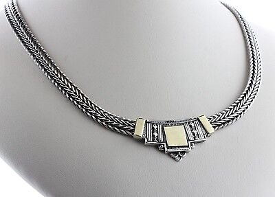 Vintage Sterling Silver Ornate Gold Vermeil Tiered Pendant Wheat Necklace - 18""