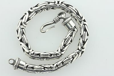 Sterling Silver 925 Bali Style Hook Lock Rounded 6mm Byzantine Bracelet - 8.5""