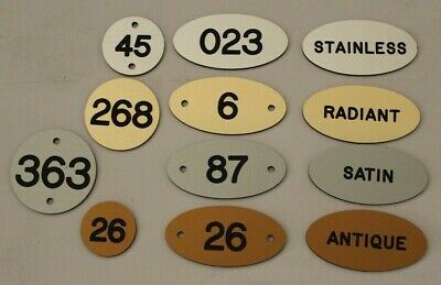 Locker number tags, labels in metal effect finish , seating numbering