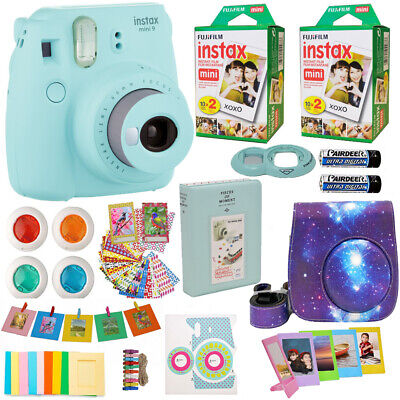 Fujifilm Instax Mini 9 Instant Camera Ice Blue + 40 Film +Galaxy Case Acc Bundle