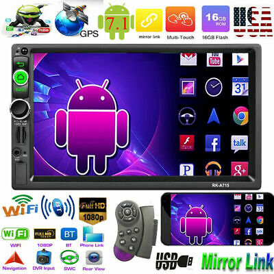 Quad Core Android7.1 7''2DIN Car Stereo MP5 Player WiFi GPS Navi RDS AM FM Radio