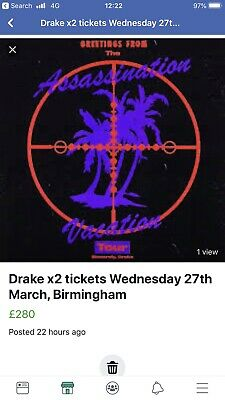 Drake X 2 assassination tour tickets Birmingham Weds 27th March STANDING