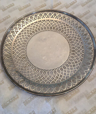 Tiffany & Co sterling silver Reticulated Pierced Footed Cake Plate Tray # 18670