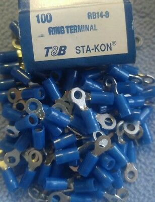 100 Sta-Kon RB14-8 Ring Terminal Connector Insulated #8 bolt 18-14 awg T&B