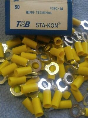 """50 Sta-Kon 10RC-14 Ring Terminal Connector Insulated 1/4"""" bolt 12-10 awg T&B"""