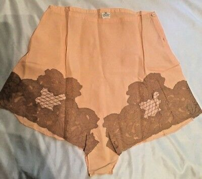 2fbab4ca99a Vintage Panties 1930 s Rayon Silk Peach with Ecru Lace RARE Tap Panty Slip  NOS