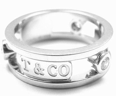 "Authentic! Tiffany & Co. 18k White Gold Diamond ""1837"" Band Ring"