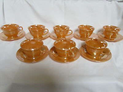 Vintage FIRE KING: Set of 8 Three Band Peach Lustre cups & saucers - VERY NICE !