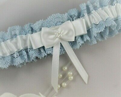 Bridal Garter. Blue lace with White/Ivory satin trim & Pearl Bow