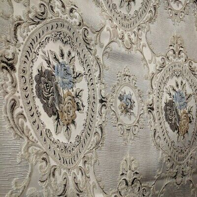 French Baroque Design Fabric Upholstery Brocade Drape Silver Blue Pastel Floral
