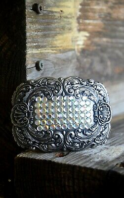 Vintage and Very Unique Metal Belt Buckle, Floral Design with Blinking Stones
