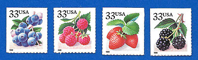 US (1999) Berries 3294-97  Set of 4 Booklet Stamps Mint Never Hinged  3294 -3297