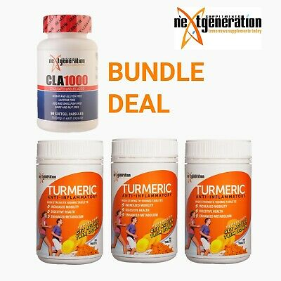 TURMERIC TABLETS 3 x 150 ANTI INFLAMMATORY TUMERIC SUPPLEMENT & CLA1000 90's