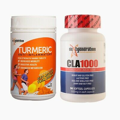 Turmeric Tablets 150 Anti Inflammatory Tumeric Supplement & Cla1000 90 Softgel