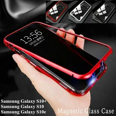 For Samsung Galaxy S10+ Plus S10e Magnetic Metal Case Tempered Glass Phone Cover