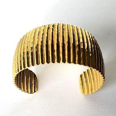 114d890cd1a Shiny Wide Cuff Hammered Metal Gold Tone Bracelet Ridged Egyptian Cleopatra  ~ 7