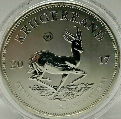 2017 South African Anniversary Krugerrand Fine Silver 1oz Coin + COA in Capsule