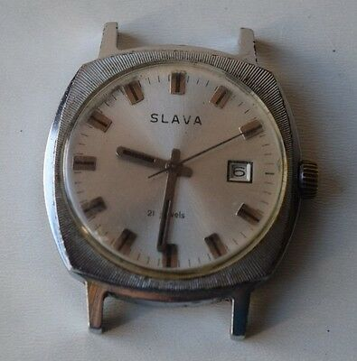Vintage Collectible USSR Russian SLAVA Wristwatch 21 Jewels Working Wrist Watch