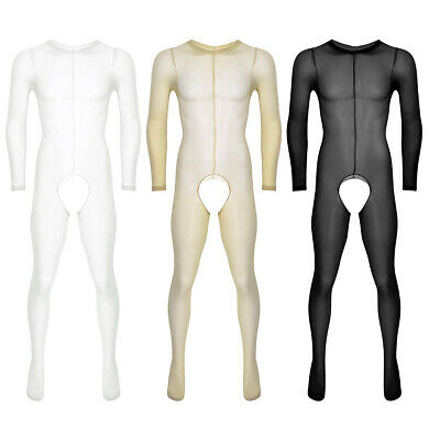 Mens See Through Full Body Pantyhose Ultra-thin Stocking Bodysuit Sexy Underwear