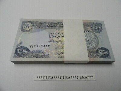 25,000 NEW CRISP IRAQI DINAR UNCIRCULATED CURRENCY 100 x 250  1 BUNDLE 250 IQD