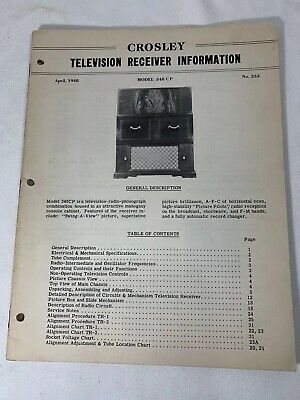 1948 Crosley 348 CP Television Receiver Info Manual - Chasis Controls Circuits