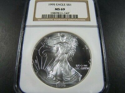 1995 Silver $1 ASE American Eagle NGC MS69 $90 VALUE - Collector Coin