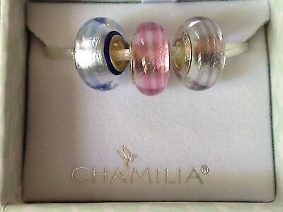 Set Genuine Silver Murano Glass Charms Ribbon Candy Brand New Boxed Blue Pink