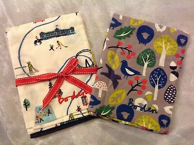 Boden Tea Towels Set Of Three London Bnib Christmas