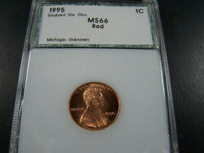 1995  RED DOUBLED DIE OBVERSE LINCOLN WHEAT CENT RARE HIGH GRADE PCI rated MS 66