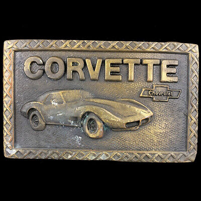 Vtg Chevy Chevrolet Corvette Truck Sports Car Advertising Belt Buckle